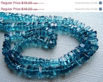 35% OFF Teal blue/london quartz smooth polished square heishi beads- 4-5mm- 8 inch