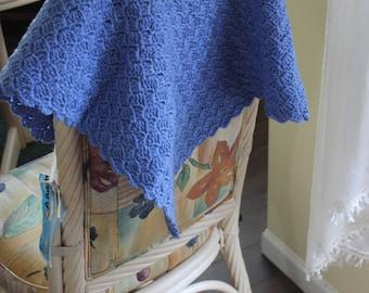 Brand New Blue Denim Baby Blanket Handmade Crochet Newborn Baby Blanket, Photography Props, car seat tent canopy