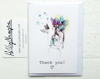 A6 THANK YOU card - with 'Nature Girl' illustration - by Holly Sharpe