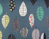 2542C - Retro Colorful Leaf Fabric in Dk. Grey - Leaves Fabric - Japanese Cotton Fabric - Cosmo Textile Fabric