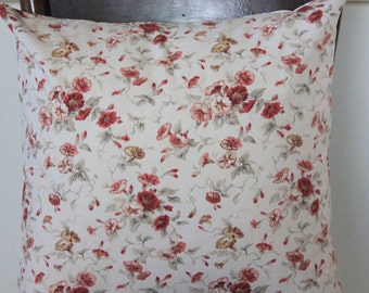 Decorative Pillow -Fairhaven Rose Floral Pillow Cover - Select Your Size