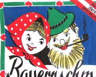 Vintage Towel Anthropomorphic Austrian Recipe Bauernschmaus Beer Stein Mug