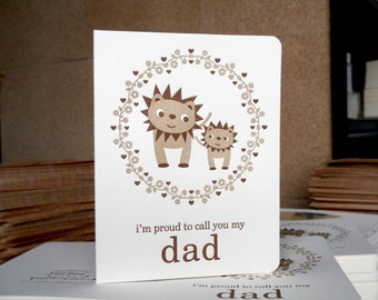 lion dad letterpress father's day card - lp1518