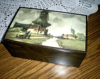 Vintage Wood Box, Mid Century Storage Container, Dutch Windmill Art Under Plexiglass, Cloudy Day, Wood is Faced with Metal Woodgrain