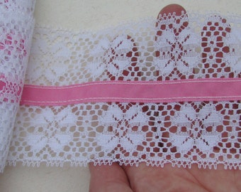 Wide vintage white lace with pink ribbon in the center - by the yard