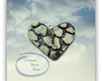 heart bead,green heart , Heart bead for necklaces, necklace bead supply,clay heart bead,   # 126