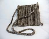 vintage woven pouch, unique pouch purse, shoulder strap, small pouch purse, open top purse, primitive style, brown purse, woven purse, pouch