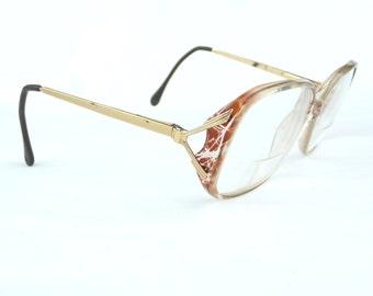 vintage eyeglasses, flex arms, vintage eyewear, plastic frames, vintage glasses, large lenses,vintage accessory,decorative frames,gold metal