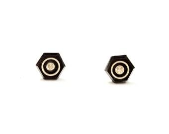 Black Hexagon Studs, Black Crystal Studs, Hexagon Studs, Geometric Studs, Glass Studs, Vintage Glass Studs, Black Studs, Round Studs, Studs
