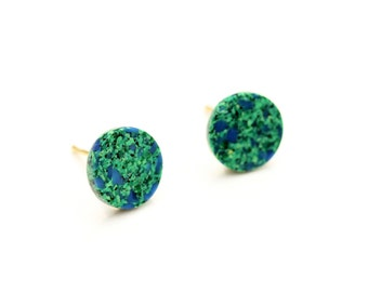 Round Green Studs, Round Studs, Glass Studs, Speckled Studs, Green and Blue Studs, Circle Studs, Green Circle Studs, Vintage Glass Studs