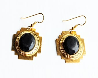 Black Dangle Earrings, Aztec Earrings, Black Drop Earrings, Black Earrings, Gold Drop Earrings, Gold Earrings