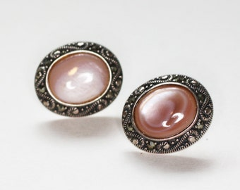 Pink MOP and Marcasite Earrings Posts Sterling Vintage