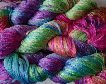 Moonbeam, Hand dyed ribbon yarn, 150 yds - Fiesta