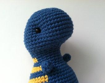 Gift For Teens Crochet T-Rex Plush Doll Marine Blue & Goldenrod Kawaii Plush Dinosaur Stuffed Animal Dinosaur Gift for Kids Plushie Dino