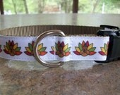 Dog Collar - Thanksgiving Turkey - In M - L - XL Plastic or Metal Side Release Buckle - Choice of Webbing Color