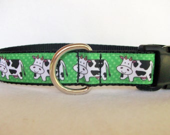 Cows Dog Collar, In M, L, XL, Choice of Webbing Color