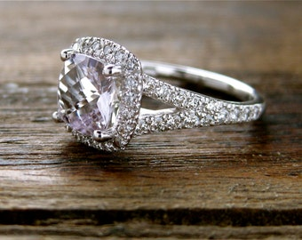 Rose De France Amethyst Engagement Ring in 18K White Gold with Diamonds and Split Shank Size 6