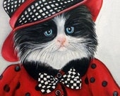 Cat Painting, 6 x 8 Cat Oil Painting, Cats in Clothes Paintings, Red Black White Painting, Original Painting