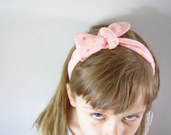 Headband and bracelet set,polka dot pink and flowers, soft adjustable - headache free headband - cotton headband and wristband