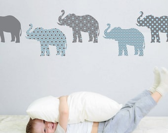 8 Patterned Gray and Baby Blue Elephant Wall Decals, Removable and Reusable Eco-friendly Wall Stickers