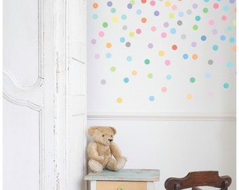 Wall Decals 121 Mini Dots Sorbet Confetti Polka Dots, Eco-friendly Fabric Removable and Reusable Wall Stickers
