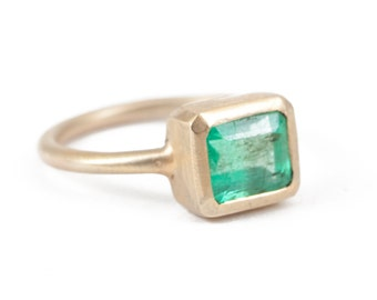 Emerald, Emerald Ring, Emerald Cut, Octagon Stone, Engagement Ring, 14K Gol Ring, Green Emerald.