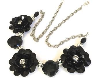 Black Daisy Statement Necklace