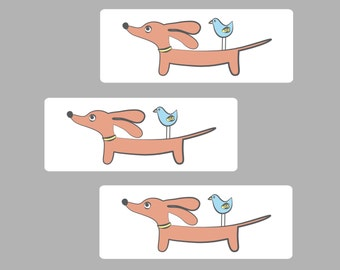 Dachshund Dog Sticker Set - Set of 48 - Doxie and Bird Friend - Rectangle Dog Labels