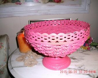 Vintage Cottage Charm Pink Braided Basket Bowl