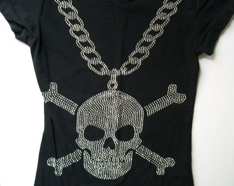 Halloween Skull T-Shirt Tee Shirt biker goth rocker punk Sparkle Skull Crossbones Chain