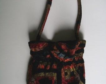 Geometric Velvet Purse Bag Handbag Pouch
