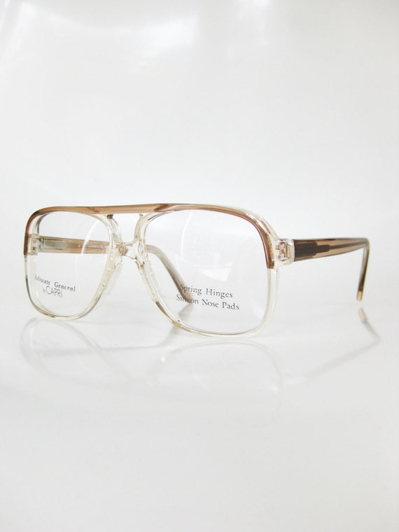 vintage clear eyeglasses mens sunglasses aviator optical frames crystal transparent light brown coffee tan fawn 1970s