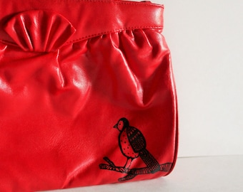 Red Purse / Vintage Purse / Prom Purse / Wedding Purse / Painted Purse / Painted Bird / Brithday Gift / Hand Painted Bird