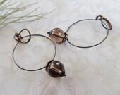 Lady MacBeth Smokey Topaz Quartz And Oxidized Silver Hoop Earrings
