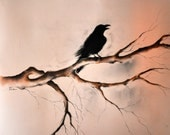 Original Charcoal Crow Drawing Raven on a Branch Large Gothic Art 27''x20''
