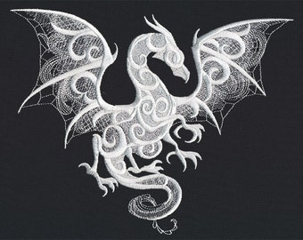 Dragon Smoke - Embroidered Terry Kitchen Towel Bathroom Hand Towel