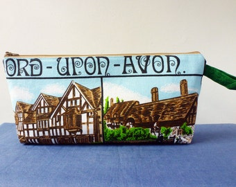 Stratford Upon Avon long zip pouch, pencil case, knitting bag, upcycled fabric purse, Shakespeare and Anne Hathaway