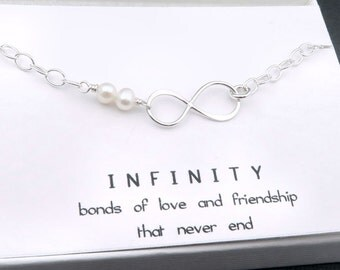 Infinity Bracelet, Sterling Silver,  Mother of the Bride, Best Friends Jewelry, Sisters, Gift for Mom, Infinite Love