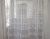 Sheer Curtain, Sheer Off White Floral Embroidered Extra Wide Curtain Panel 88 wide x 82 long