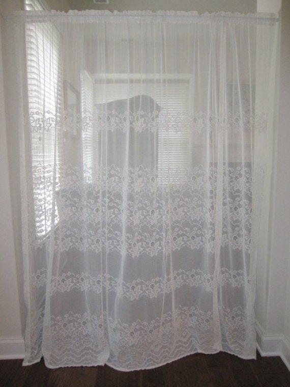 sheer curtain sheer off white floral embroidered extra wide