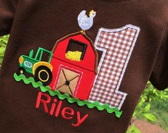 Farm Shirt, Barnyard Birthday, Barn Birthday Shirt, Barn Shirt, Boys Tractor Shirt, Boys Barn Shirt, Shirt with Barn, Farm Birthday