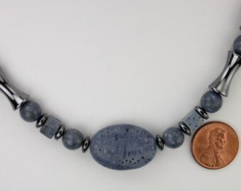 Blue Sponge Coral and Hematite Necklace and Earrings