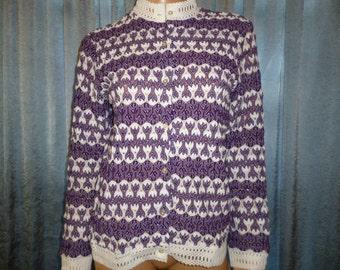 "Vintage 50's - Purple - White - Popcorn - Bubble Knit - Embellished Crochet Collar/Cuffs/Waistband - Cardigan - Sweater - 38"" bust"