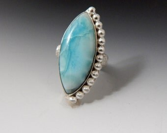 Larimar Sterling Silver Beaded Ring Boho Size 8