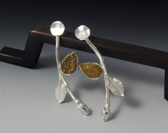Fall in Love- Organic Sterling Silver Rose and Druzy Quartz Post Earrings