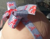 spirit sport hair bow headband red and houndstooth ribbon