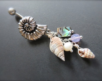 Belly Button Ring Jewelry. Spiral Shell Belly Button Jewelry Ring Abalone Seashell Charm Dangle Navel Piercing Bar Barbell Bellyring Belly