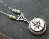 Navigation - American Pewter Compass, Filigree, Pearl and Rhinestone Accent Locket Necklace