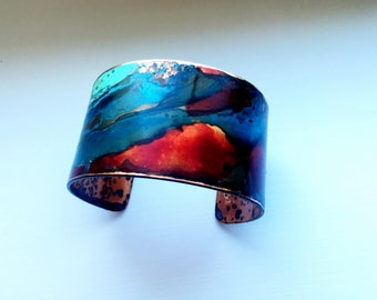 "The Original Patina Cuff - Red & Mixed Verdigris Patina Cuff - 1.25"" Width"