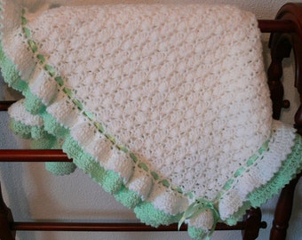 Hand crocheted Baby Blanket, Soft and Cuddly